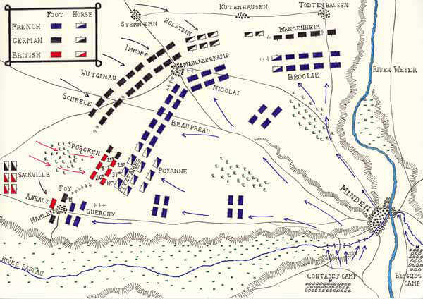 Map of the Battle of Minden
