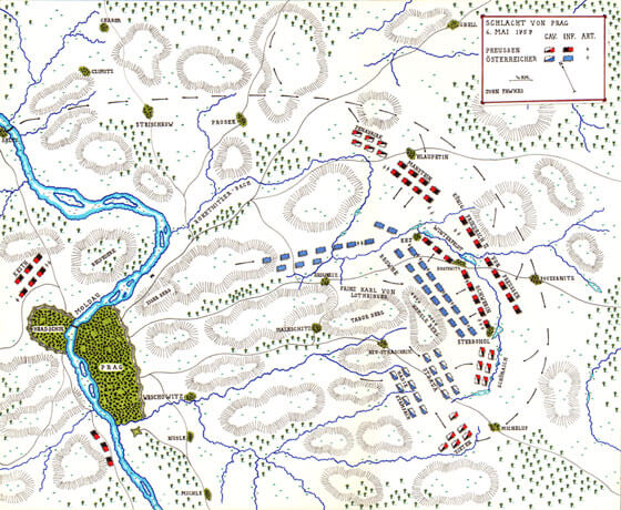 Map of the Battle of Prague