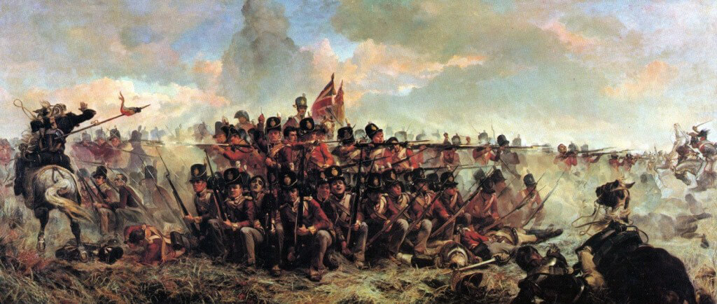 28th Regiment at Quatre Bras 16th June 1815: picture by Lady Butler.  To purchase a print click on this caption.
