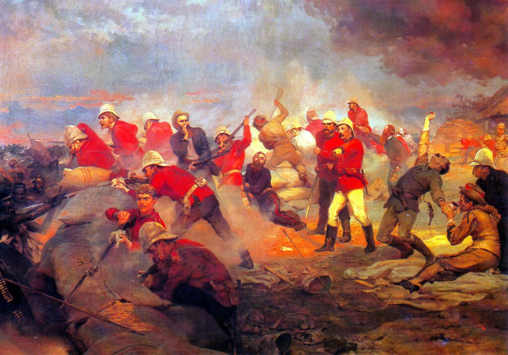 The Defence of Rorke's Drift, Zulu War, 22nd January 1879:  picture by Lady Butler.  To purchase a print click on this caption.