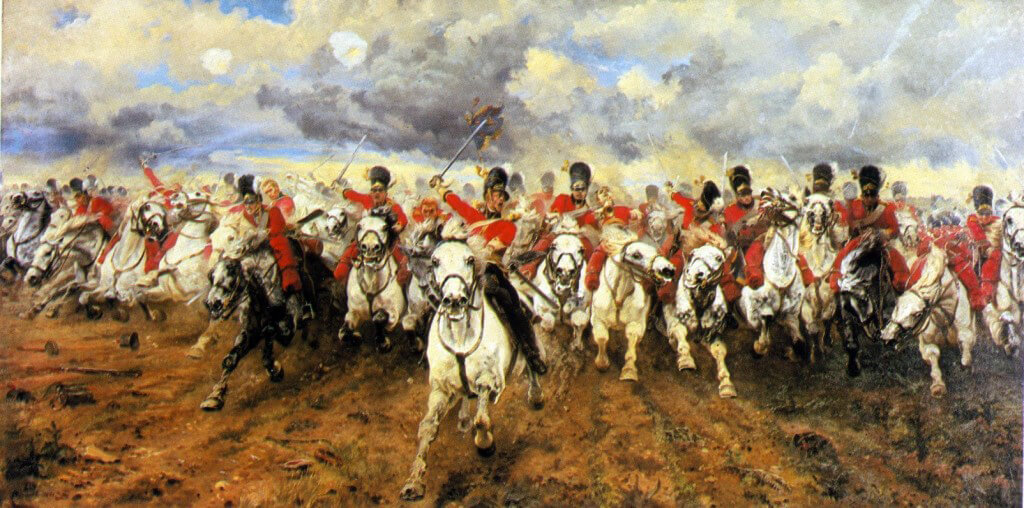 Scotland For Ever:  The Royal Scots Greys charging at the Battle of Waterloo 18th June 1815: picture by Lady Butler.  To purchase a print click on this caption.