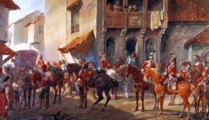 A regiment of British Dragoon Guards in Spain at the end of the Peninsular War by Orlando Norie.