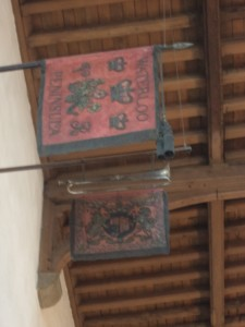 The Royal Horse Guards Standard and Trumpet over the memorial to Lieutenant Viscount Wendover in All Saints Church, High Wycombe, Buckinghamshire.
