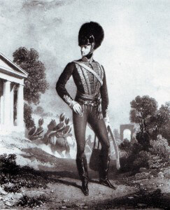John le Marchant in the uniform of an officer of light dragoons, 1790.