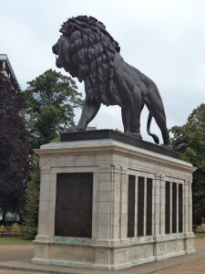 The Lion in Forbury Gardens, Reading, Berkshire, commemorating the losses of the 66th Regiment in Afghanistan during the Second Afghan War, particularly at the Battle of Maiwand, 27th July 1880.