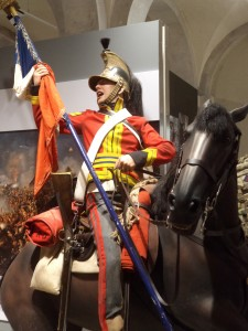 Royal Dragoons taking the 105th Eagle at Waterloo: Household Cavalry Museum