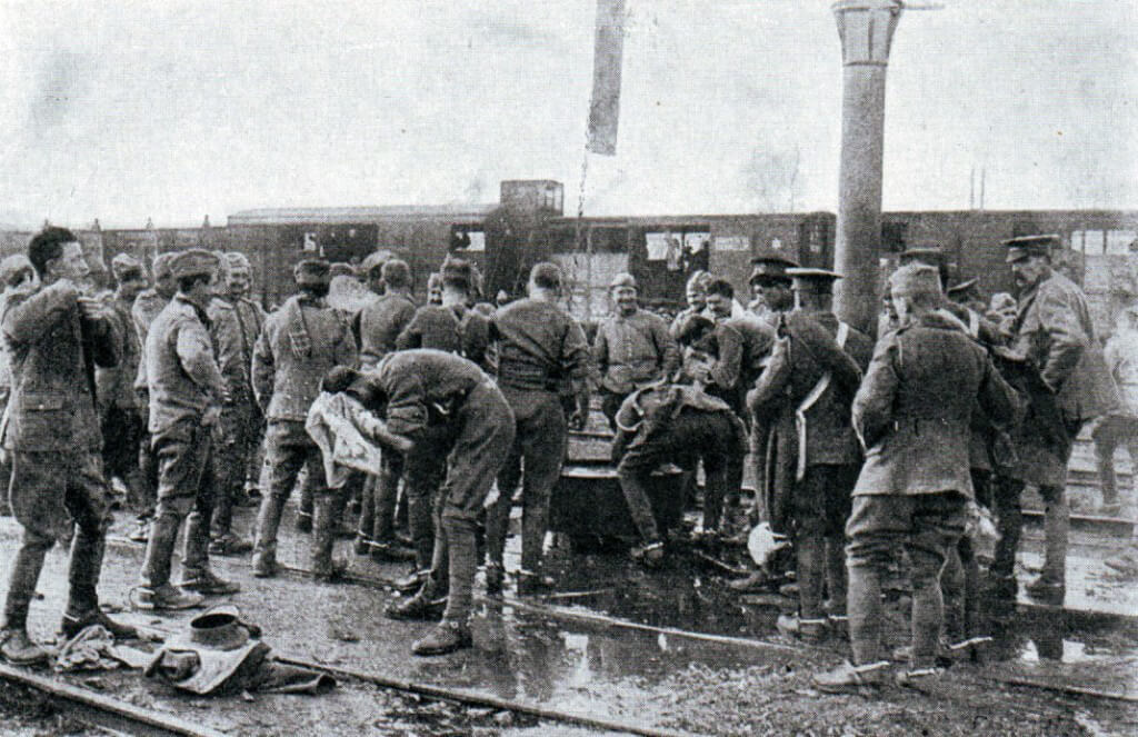 British troops washing in a French station