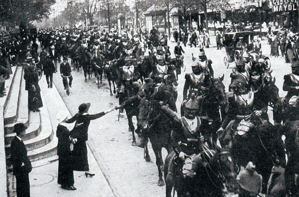 French cuirassiers passing through Paris in 1914: