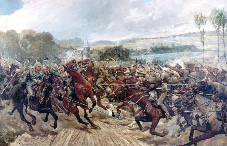 Lieutenant Colonel Campbell charging the German squadron