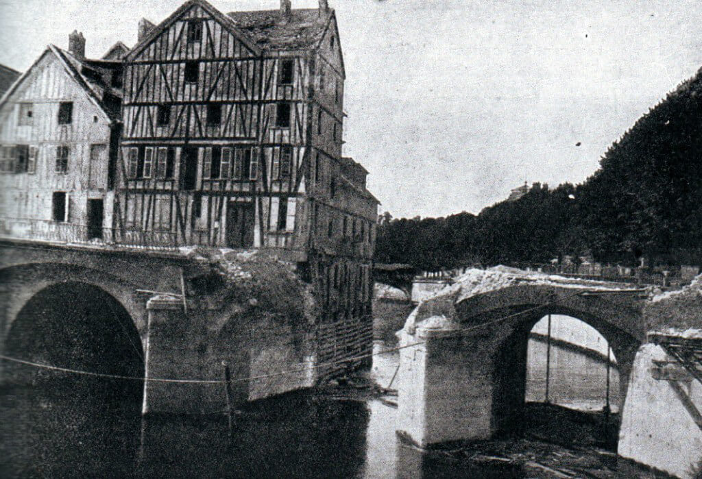 Pont du Moulin at Meaux on the Marne River, demolished by French sappers