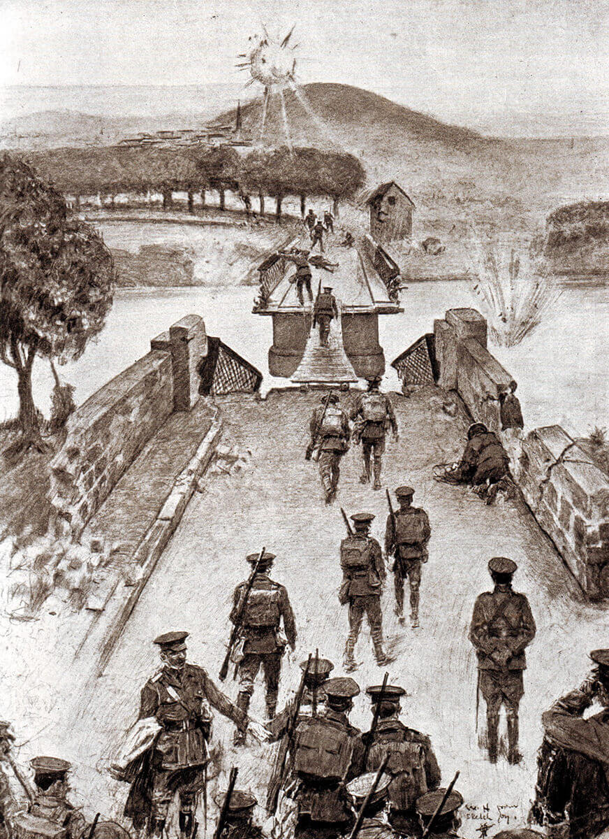 British 8th Brigade crossing the broken bridge over the Aisne at Vailly on 13th September 1914 by the single plank