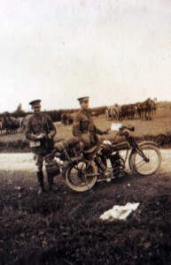 Motor cyclists of 5th Cavalry Brigade with the Royal Scots Greys machine gun section in the background (photo by Captain David Baird, ADC to General Haig)