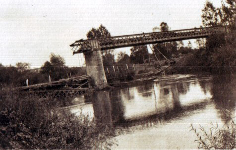 The demolished bridge at Bourg (photo by Captain David Baird, ADC to General Haig)