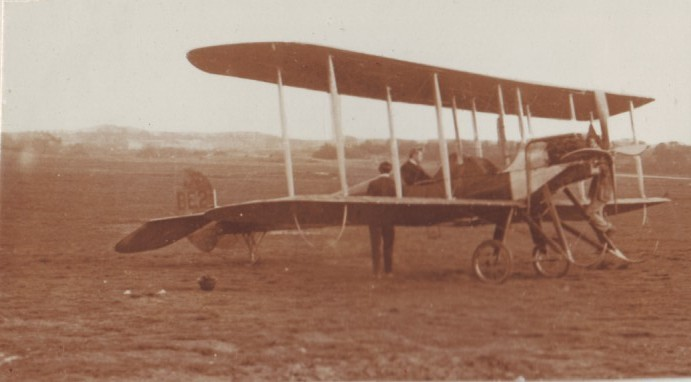 British BE2 Biplane (photo taken for Captain David Baird, ADC to General Haig) Captain Baird is in the passenger seat