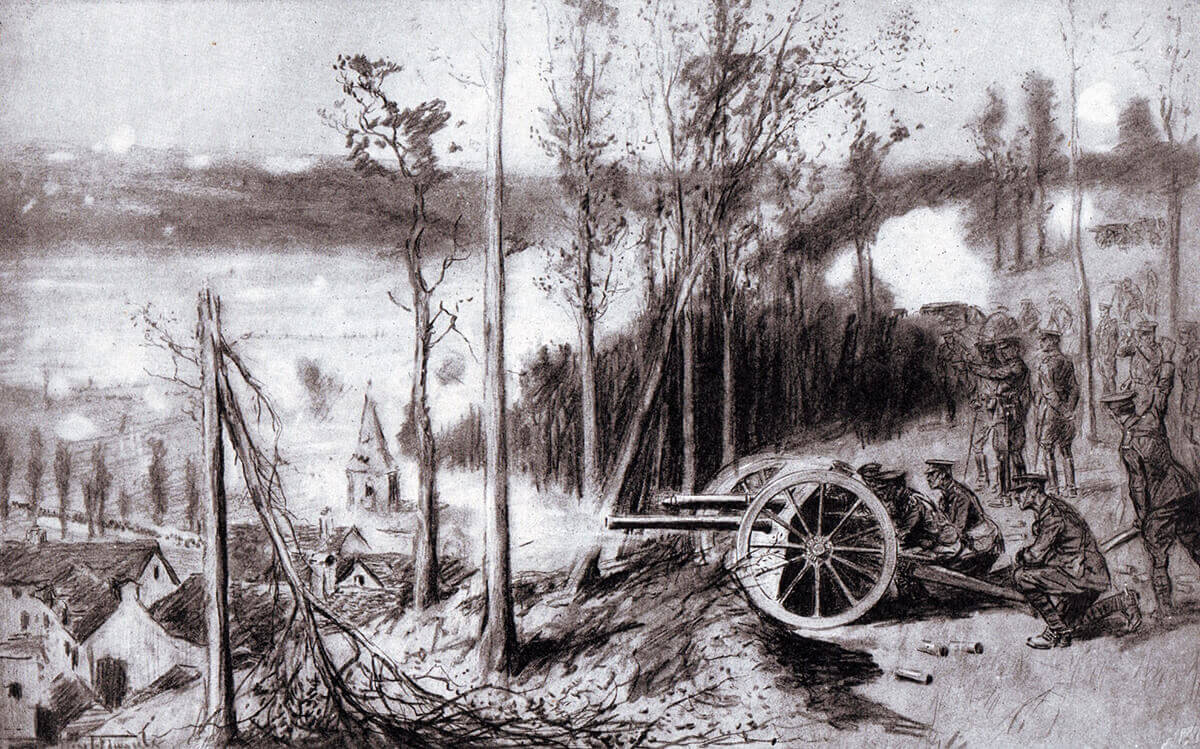British RFA 18 pounder field gun in action during the Battle of the Aisne