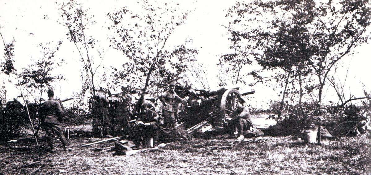 British 60 pounder guns on the Aisne battlefield