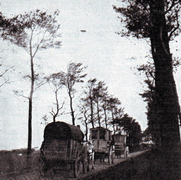 British biplane flying over the Aisne battlefield
