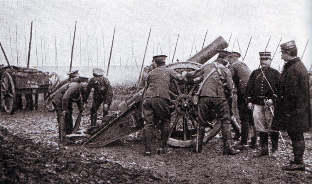 British howitzer on the Aisne battlefield