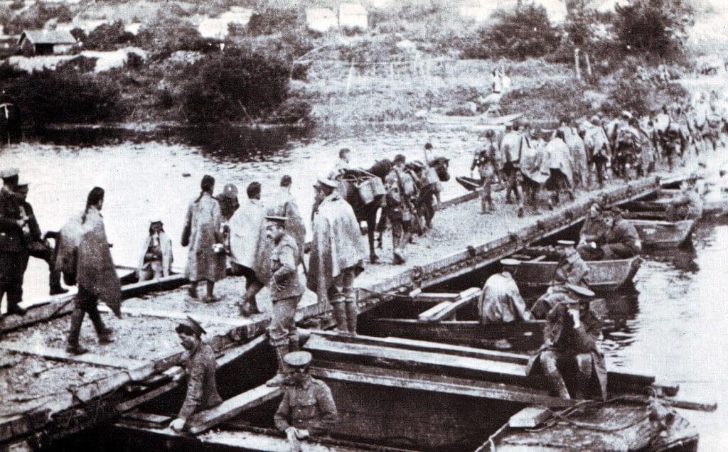 British troops crossing a pontoon bridge built by the Royal Engineers