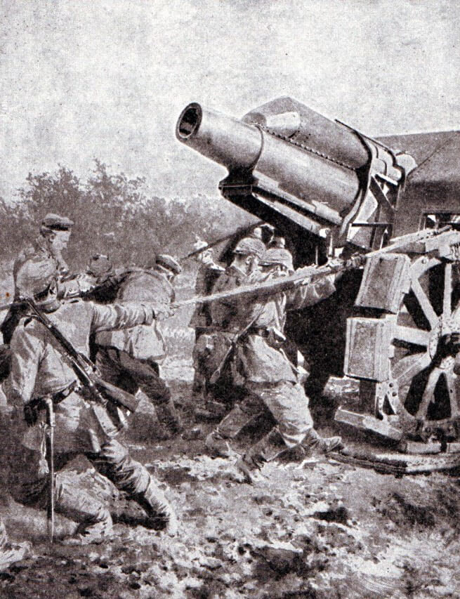 German heavy howitzer dragged into position during the Battle of the Aisne