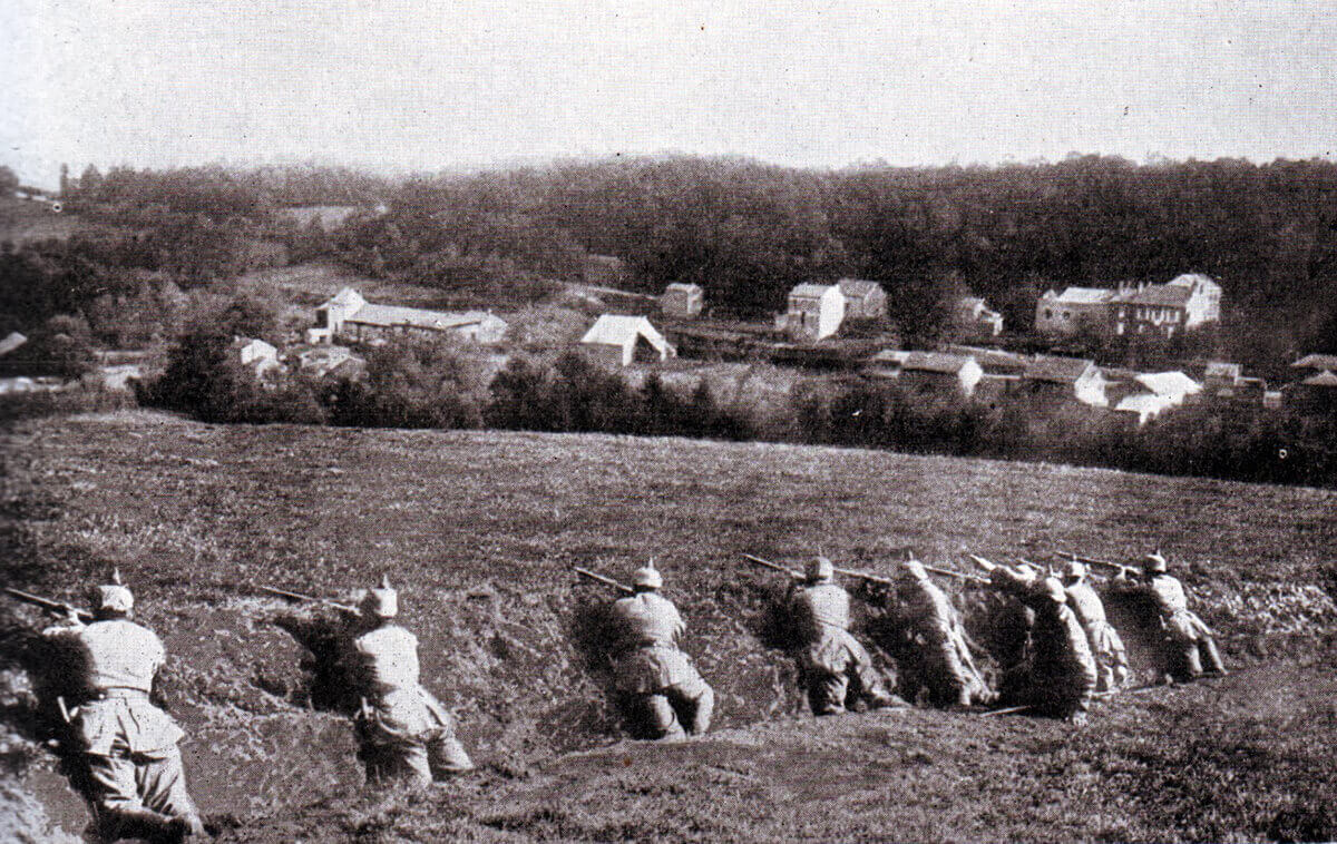 German infantry positioned in a ditch
