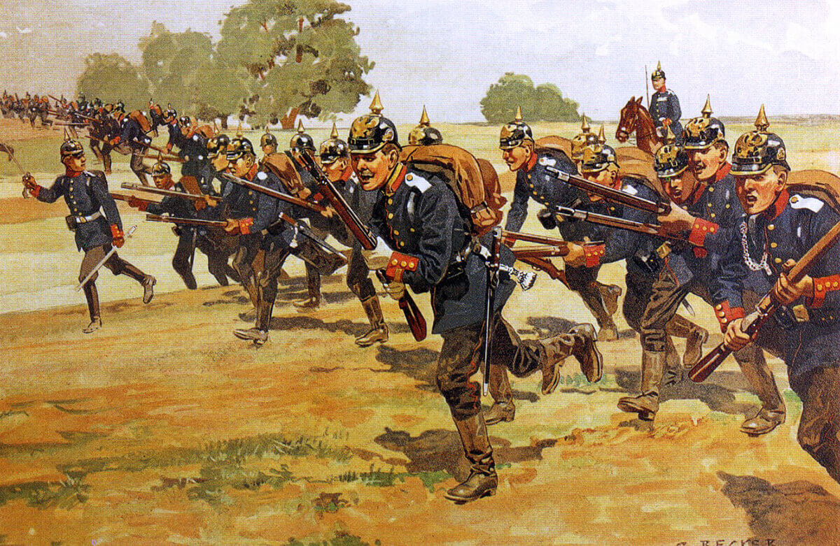 German infantry on manoeuvres in 1905 by Becker