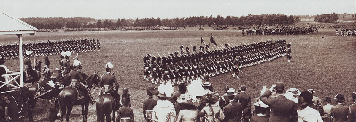 1st Queen's Own Cameron Highlanders marching past King George V in June 1914 at Aldershot before the Great War