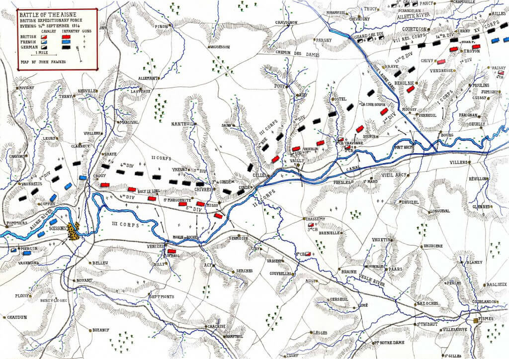 Map of the Battle of the Aisne by John Fawkes