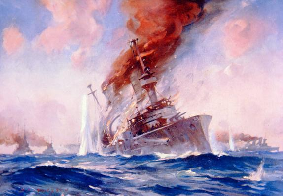 Battle of the Falkland Islands 8th December 1914 by E.S. Hodgson. To buy a copy of this picture click here
