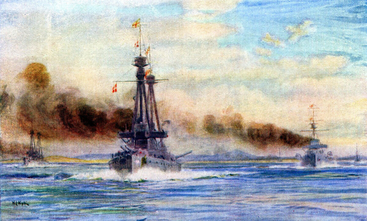 HMS Invincible and Inflexible leaving Stanley Harbour at the beginning of the Battle of the Falkland Islands on 8th December 1914: picture by Lionel Wyllie. To buy this picture click here