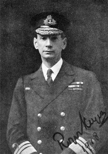 Commodore Roger Keyes RN as Rear Admiral RN in 1918. Keyes commanded the 8th 'Oversea' Submarine Flotilla, based at Harwich. Keyes oversaw the patrolling of the German North Sea naval bases and devised the plan for the Heligoland Bight operation on 28th August 1914. Keyes was present during the Battle of Heligoland Bight in HMS Lurcher.