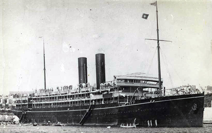 Macedonia as a civilian liner. Macedonia was a British auxiliary cruiser at the Battle of the Falkland Islands on 8th December 1914 in the First World War