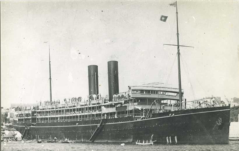Macedonia as a civilian liner. Macedonia was a British auxiliary cruiser at the Battle of the Falkland Islands on 8th December 1914