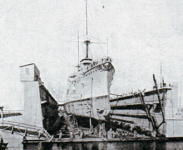 Dry dock in the German naval base of Tsing Tao in North-East China: Battle of Coronel on 1st November 1914 in the First World War
