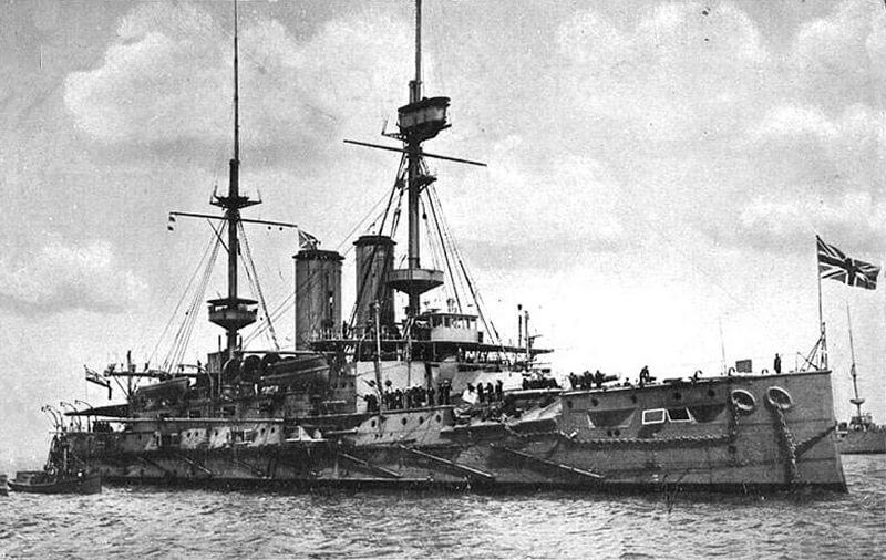 HMS Canopus, British battleship beached in Port Stanley during the Battle of the Falkland Islands on 8th December 1914 in the First World War