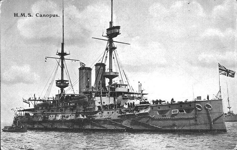 HMS Canopus, British battleship beached in Port Stanley during the Battle of the Falkland Islands on 8th December 1914