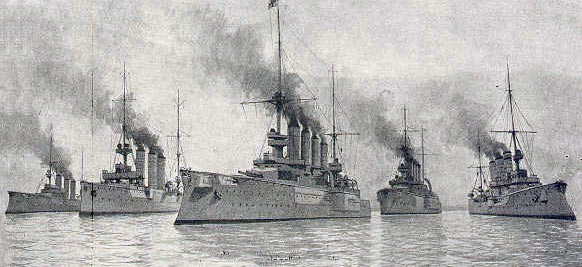 Admiral Graf von Spee's squadron at the Battle of the Falkland Islands on 8th December 1914 in the First World War: SMS Nürnberg, Dresden, Scharnhorst, Gneisenau and Leipzig