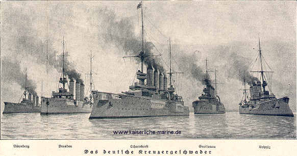 Admiral Graf von Spee's squadron at the Battle of the Falkland Islands on 8th December 1914