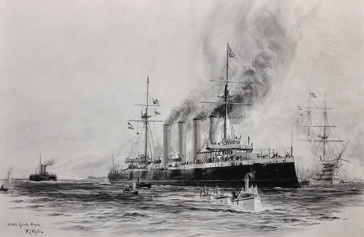 Admiral Sir Christopher Cradock's flagship the armoured cruiser HMS Good Hope; picture by Lionel Wyllie in 1901
