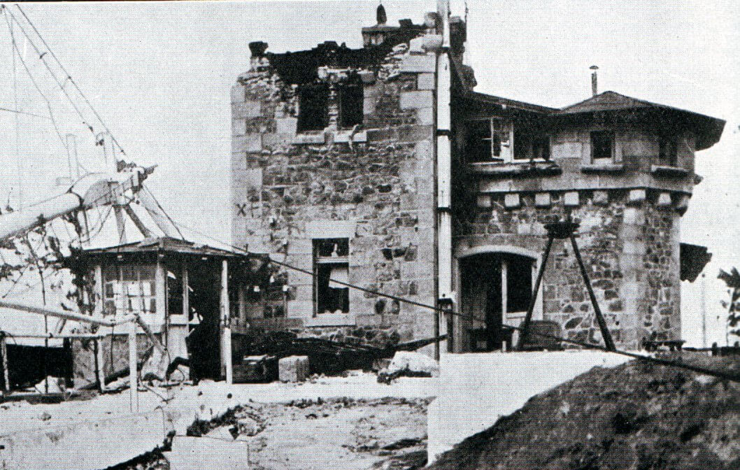 The German radio station at Tsing Tao damaged by Japanese naval gunfire:Battle of Coronel on1st November 1914 in the First World War