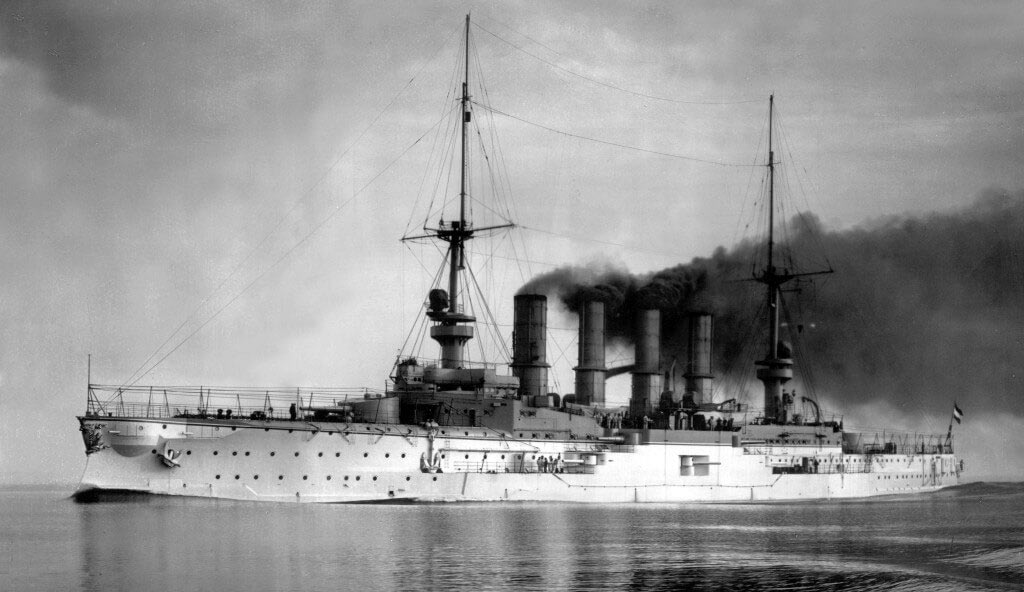 SMS Scharnhorst, the German flagship at the Battle of the Falkland Islands on 8th December 1914 in the First World War