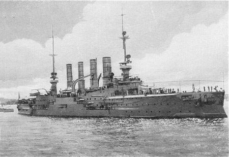 SMS Gneisenau, the second German armoured cruiser at the Battle of the Falkland Islands on 8th December 1914 in the First World War