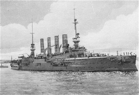 SMS Gneisenau, the second German armoured cruiser at the Battle of the Falkland Islands on 8th December 1914