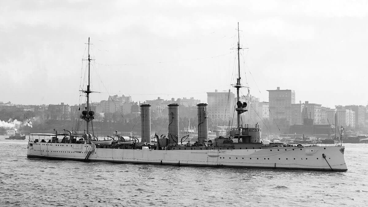 SMS Dresden, German light cruiser at the Battle of the Falkland Islands on 8th December 1914 in the First World War
