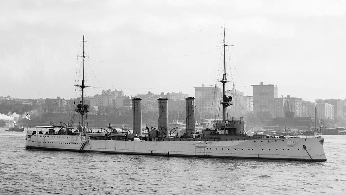 SMS Dresden, German light cruiser at the Battle of the Falkland Islands on 8th December 1914
