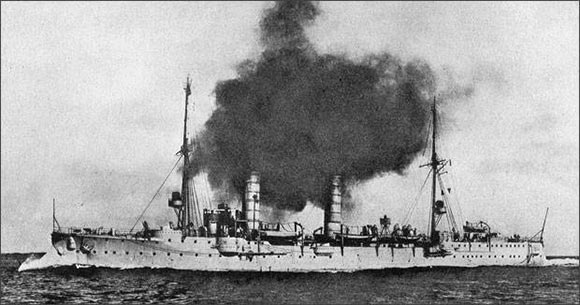 German light cruiser SMS Frauenlob, one of the German ships that attacked the British destroyers in the Battle of Heligoland Bight on 28th August 1914.