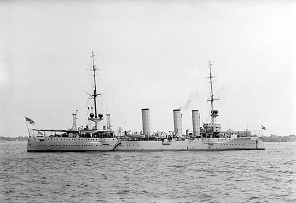 The German light cruiser SMS Stettin, one of the German ships that attacked the British destroyers in the Battle of Heligoland Bight on 28th August 1914.