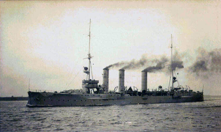 SMS Nürnberg, German light cruiser at the Battle of the Falkland Islands on 8th December 1914 in the First World War