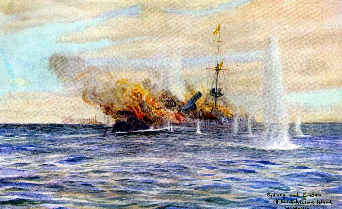 HMAS Sydney engages SMS Emden on 9th November 1914. To buy this picture click here