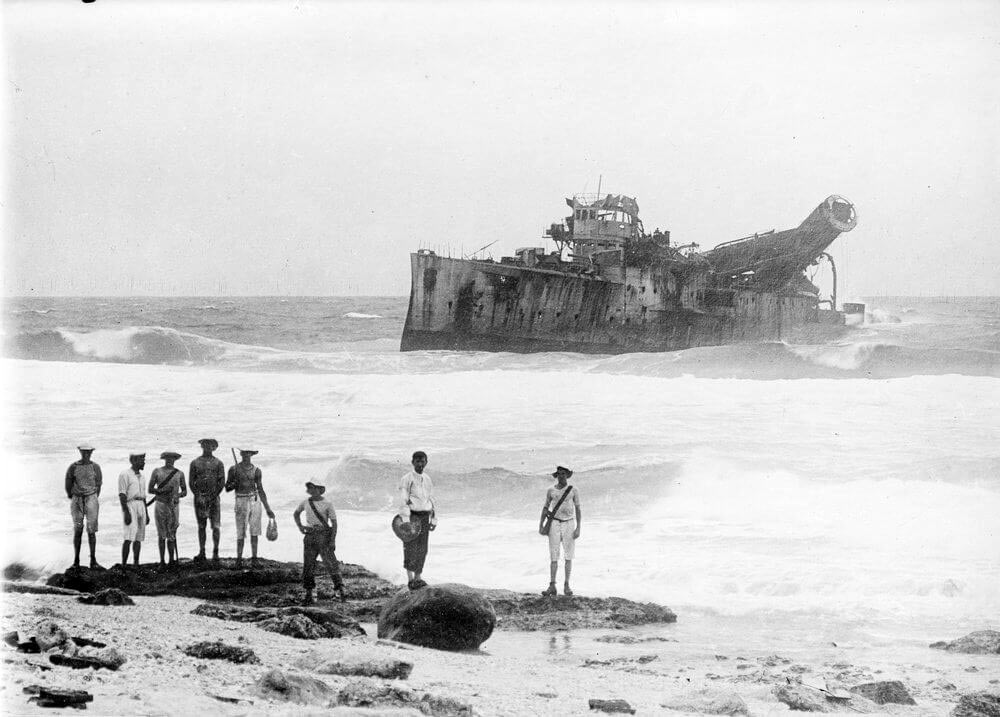 SMS Emden beached after the battle with HMAS Sydney on 9th November 1914